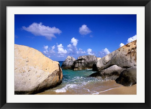 Framed Boulders, Beach, Virgin Gorda, British Virgin Islands Print
