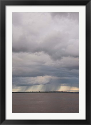 Framed Brazil, Amazon River Rainstorm during the wet season in the Amazon Print