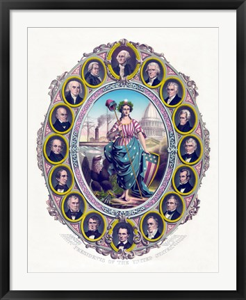 Framed Lady Liberty and the First Sixteen Presidents Print