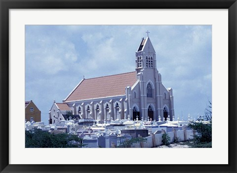 Framed Church at Jan Kok, Curacao, Caribbean Print