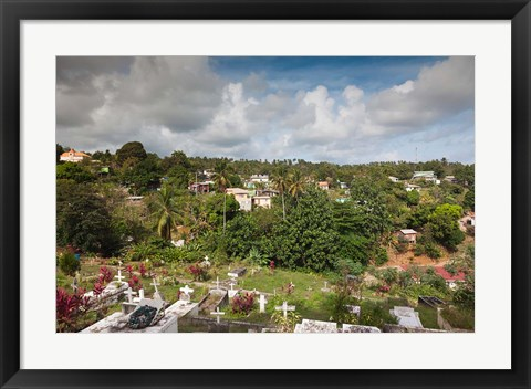 Framed Dominica, Wesley, elevated town view Print