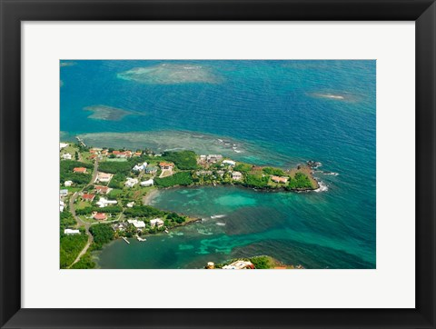 Framed Grenada, City of St George and the beach Print