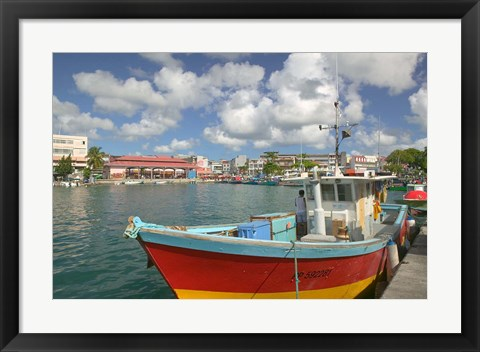 Framed Fish Sellers at the Waterfront, Grande Terre, Guadaloupe, Caribbean Print
