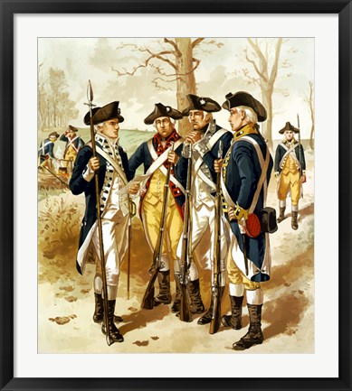 Framed Continental Army During the Revolutionary War Print
