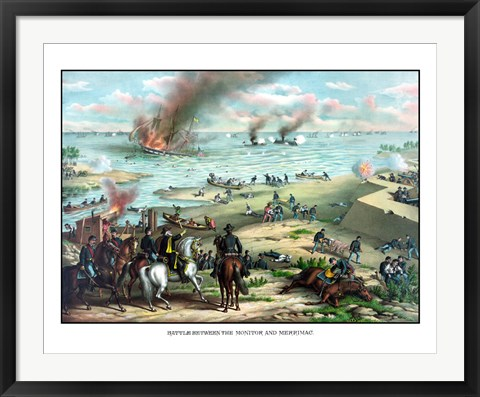Framed Naval Battle of the Monitor and The Merrimack Print