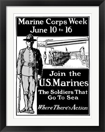 Framed Join the U.S. Marines Print