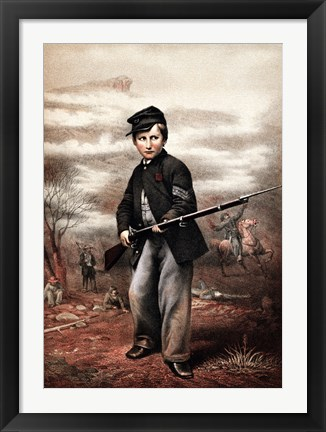 Framed Union Drummer Boy with Rifle Print