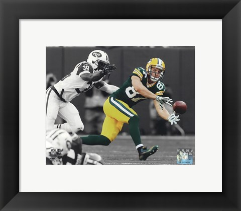 Framed Jordy Nelson 2014 Spotlight Action Print