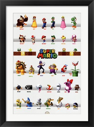 Framed Super Mario - Character Grid Print