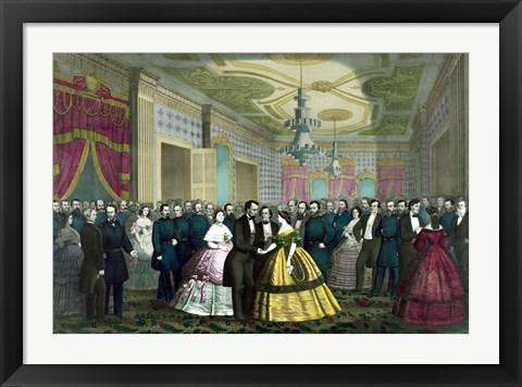 Framed President Abraham Lincoln and Wife at Their Last Reception Print