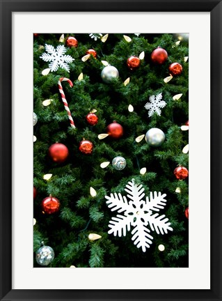 Framed Christmas decorations on tree Print