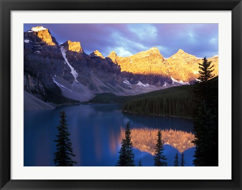 Framed Lake Moraine at First Light, Banff National Park, Alberta, Canada Print