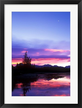 Framed Crescent Moon Over Vermillion Lake in Banff National Park, Alberta, Canada Print