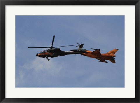 Framed F-16 Falcon and AH-64 Apache from the Royal Netherlands Air Force Print