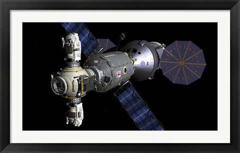 Framed Artist's concept of a Deep Space Vehicle with Extended Stay Module and Manned Maneuvering Vehicles Print