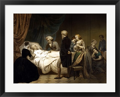 Framed President George Washington on his Deathbed Print