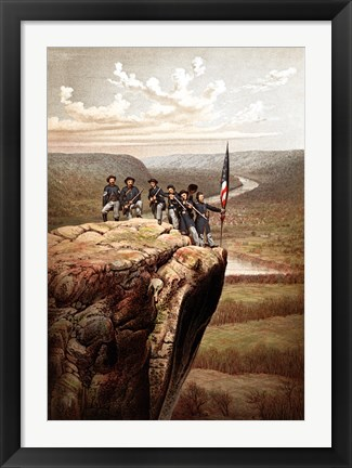 Framed Union Soldiers on the Summit of Lookout Mountain Print