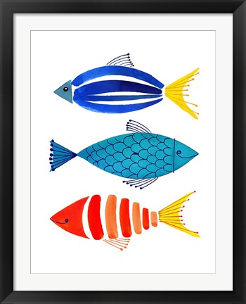Framed Summer Fish Trio Print