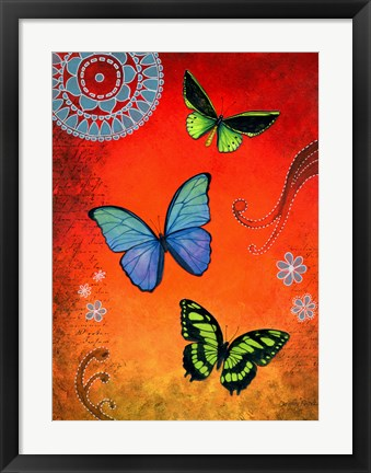 Framed Fluorescent Green and Blue Butterflies Print