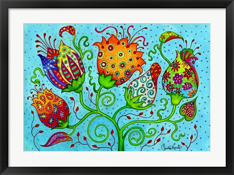 Framed Mosaic Flowers-Indian Blue Print
