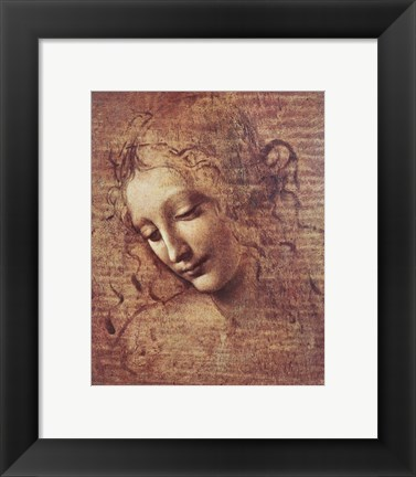 Framed Head of a Young Woman with Tousled Hair Print