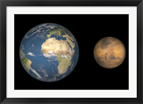 Framed Artist's Concept Comparing the Size of Mars with that of the Earth Print