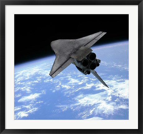 Framed Artist's concept of a Space Shuttle entering Earth orbit Print