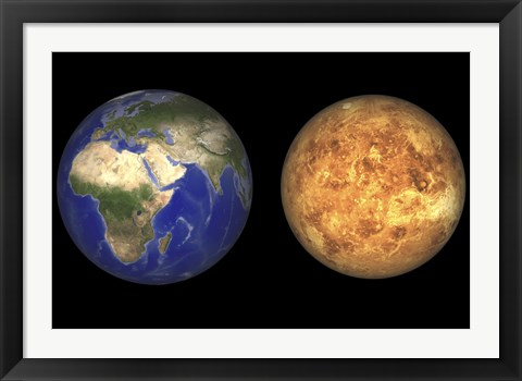 Framed Artist's concept showing Earth and Venus without their Atmospheres Print