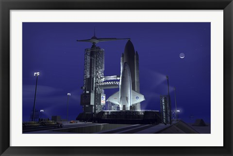 Framed Futuristic Space Shuttle Awaits Launch Print