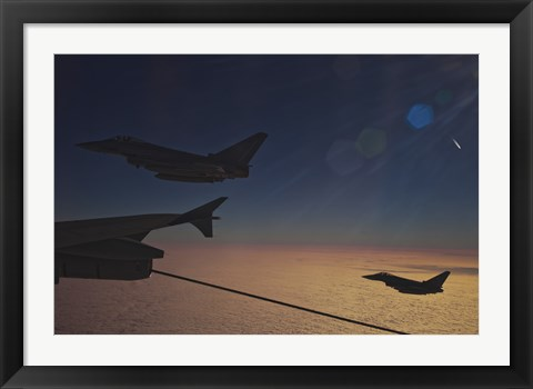 Framed German Air Force Eurofighter Typhoon Aircraft Refueling over France Print