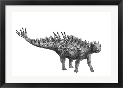 Framed Pencil Drawing of Huayangosaurus Taibaii Print