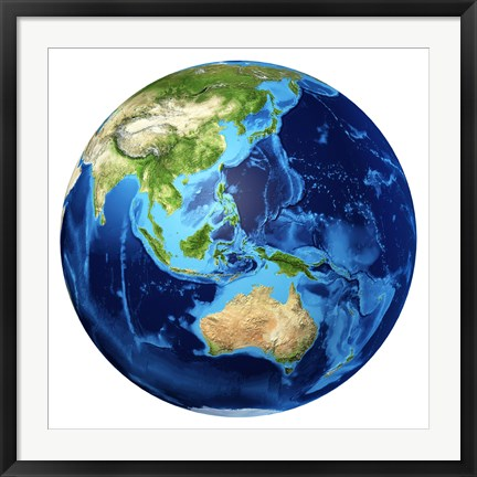 Framed 3D Rendering of planet Earth with Clouds, Oceania View Print