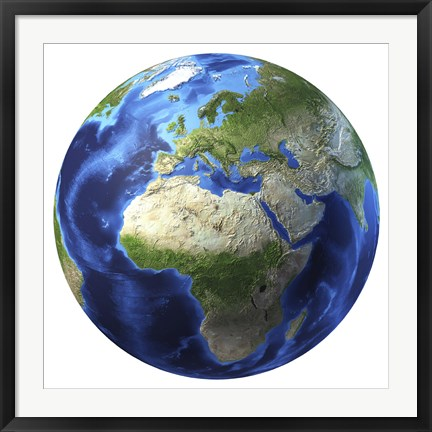 Framed 3D Rendering of Planet Earth, Centered on Africa and Europe Print
