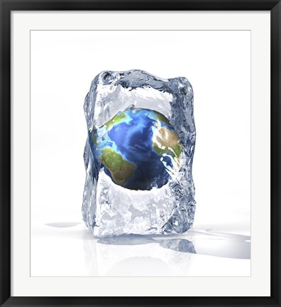 Framed Planet Earth Frozen Inside of an Ice Block Print