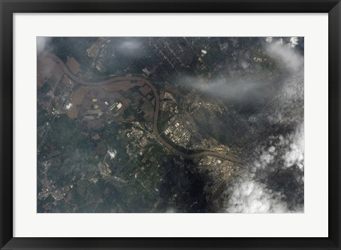 Framed Satellite view of Kansas City, Missouri, and Missouri River Print