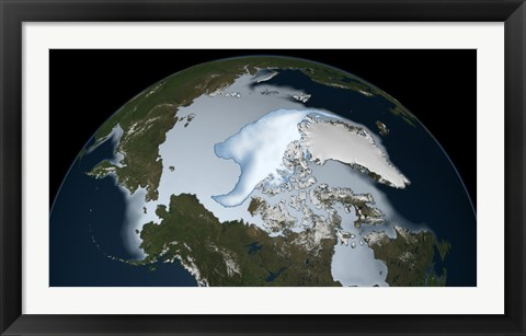 Framed Planet Earth showing sea ice coverage in 2012 Print