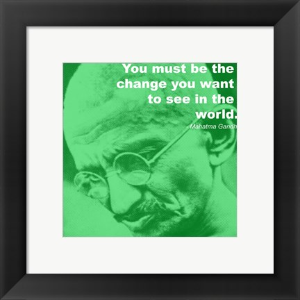 Framed Gandhi - Change Quote Print