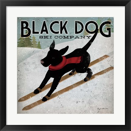 Framed Black Dog Ski Co. Print