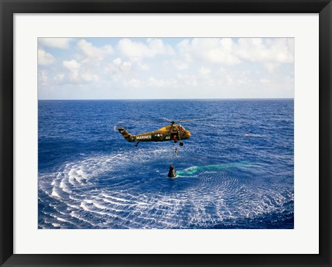 Framed Astronaut is Rescued by a US Marine Helicopter Print