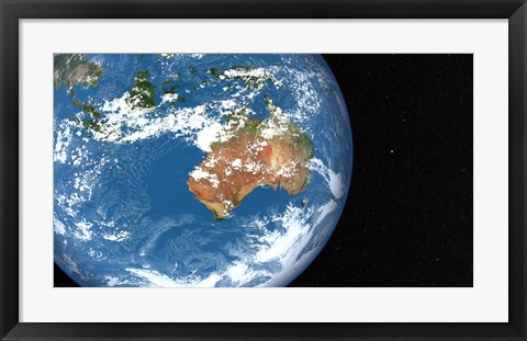 Framed Planet Earth showing Clouds over Australia Print