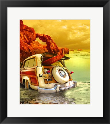 Framed Surfin in Santa Cruz, CA Print