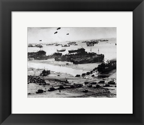 Framed Fleets of US transport and landing craft disgorge reinforcements and supplies for the US troops Print
