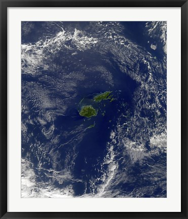 Framed Satellite view of Vanua Levu, the Second Largest Island of Fiji Print