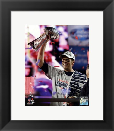 Framed Tom Brady with the Vince Lombardi Trophy Super Bowl XLIX Print