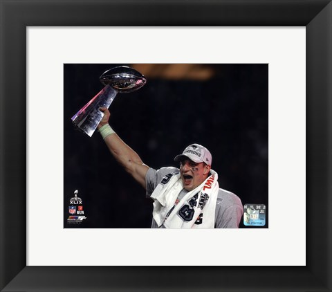 Framed Rob Gronkowski with the Vince Lombardi Trophy Super Bowl XLIX Print