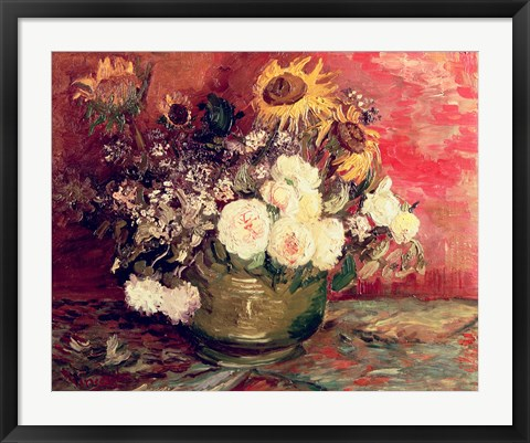 Framed Sunflowers, Roses and other Flowers in a Bowl, 1886 Print