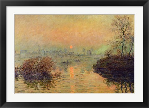 Framed Sun Setting over the Seine at Lavacourt. Winter Effect, 1880 Print