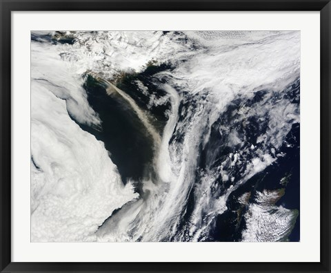 Framed Iceland's Eyjafjallajokull Volcano Emits a Dense Plume of Ash and Steam over the Atlantic Ocean Print