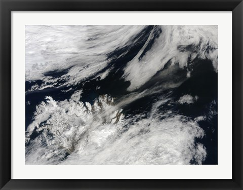 Framed Pale Gray Ash Plume Blows from the Summit of Eyjafjallajokull Volcano Print
