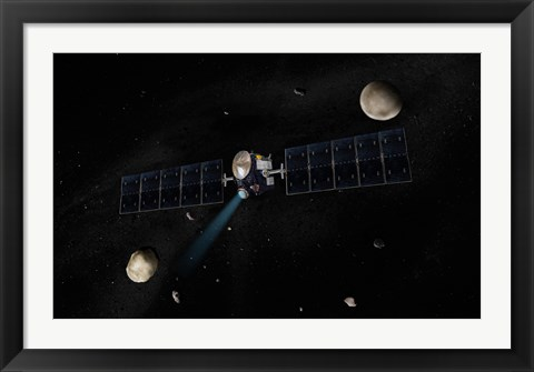 Framed Artist's Concept of the Dawn Spacecraft in Orbit around the Large Asteroid Vesta and the Dwarf Planet Ceres Print
